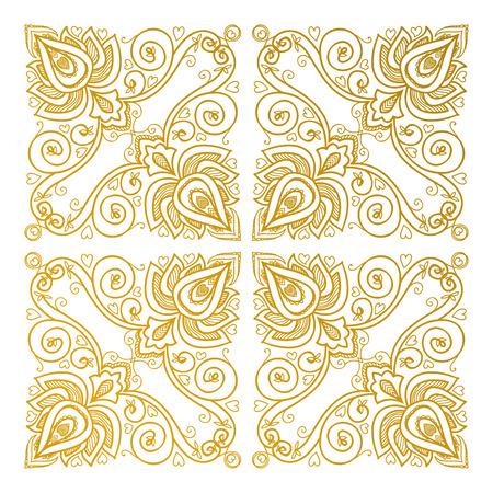servilleta de papel: Ornamento floral del vector de la India para el patrón de la servilleta, el textil de la vendimia. Vectores