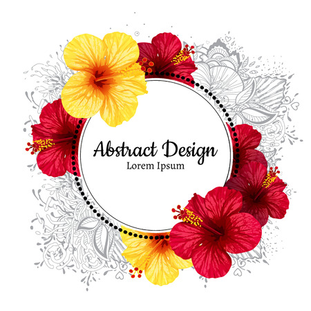 vector hibiscus realistic flower. invitation or wedding card.