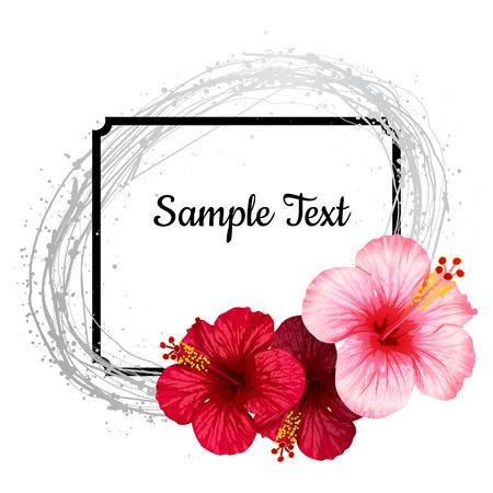 ベクトル リアルなハイビスカス。招待状や結婚式のカード。  イラスト・ベクター素材