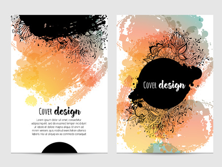 ink stain: Invitation with hand drawn brush stain. wedding card with abstract ink spots illustration. bright flyer cover.