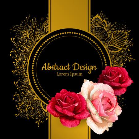 realista del vector de rosas de color rojo ilustración. tarjeta de invitación de la boda.