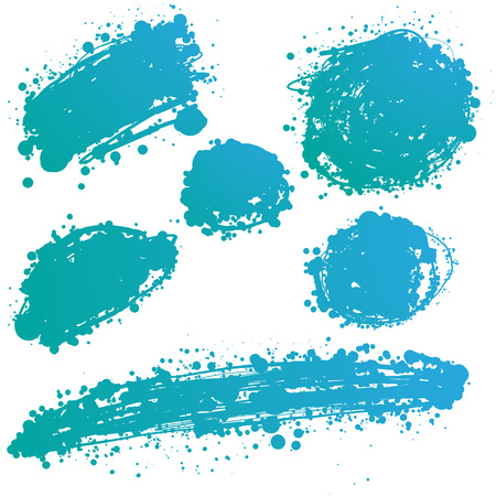 ink stain: abstract hand drawn vector ink spot. brush stain set Illustration