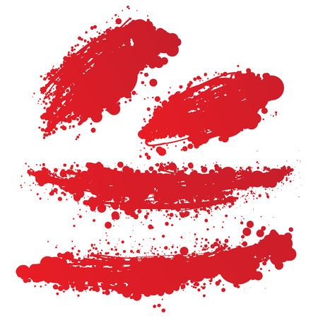 abstract hand drawn vector ink spot. brush stain set Illustration