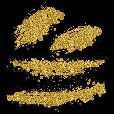 abstract hand drawn vector ink spot. brush stain set, gold glitter