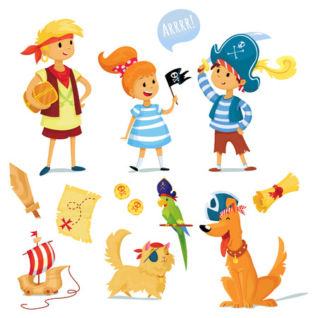 role play: pirate party illustration. kids and animals dressed like pirates.