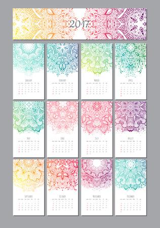 明るいベクトル曼荼羅図。2017 年のカレンダー  イラスト・ベクター素材
