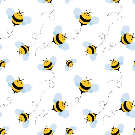 funny bee seamless pattern. honey vector illustration Illustration