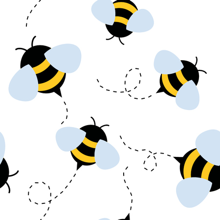 funny bee seamless pattern. honey vector illustration Illustration