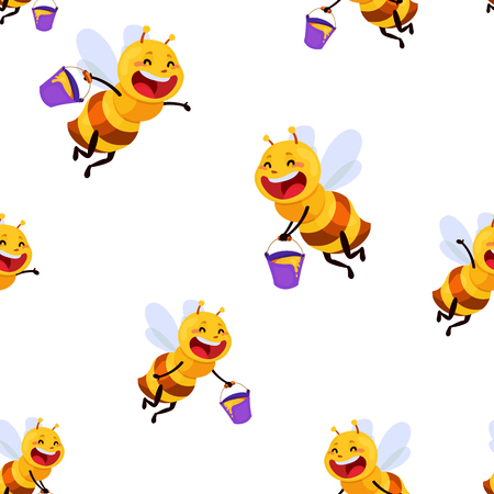 Honey and Bee character with bucket illustration
