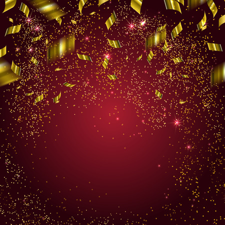 Abstract background with gold confetti.