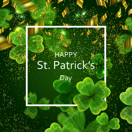 Card on St. Patricks Day. 3d effect clover vector illustration.