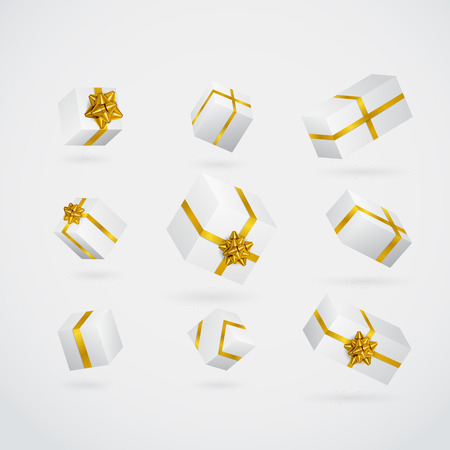 Gift 3D background. Festive box and bow set