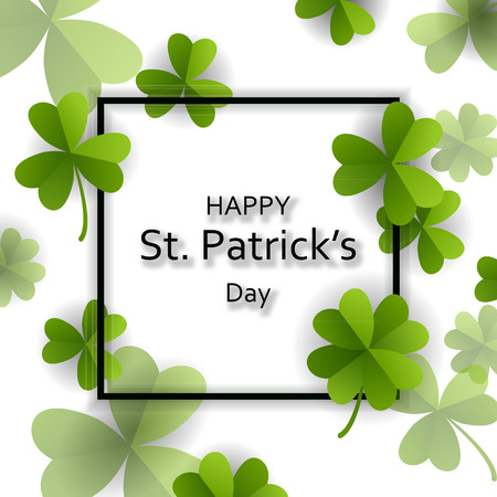 Card on St. Patricks Day with 3d effect clover vector.