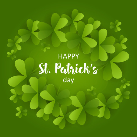 Card on St. Patrick's day 3d effect clover vector. Vettoriali