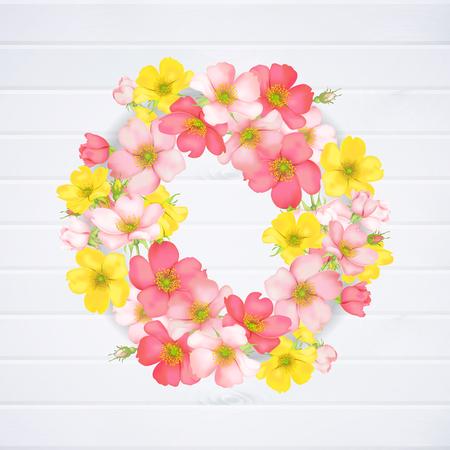 Hochzeitseinladung mit wilden Rosenblüten Standard-Bild - 96109214