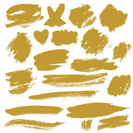 Grunge Brush Stroke gold vector illustration set.