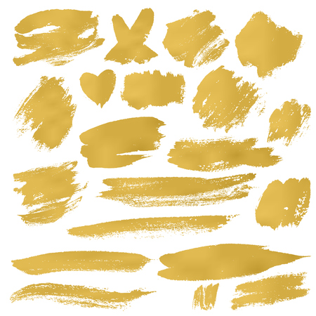 Grunge Brush Stroke in gold vector illustration set