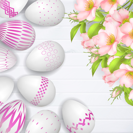 White 3d Easter Egg with various design and flowers illustration.