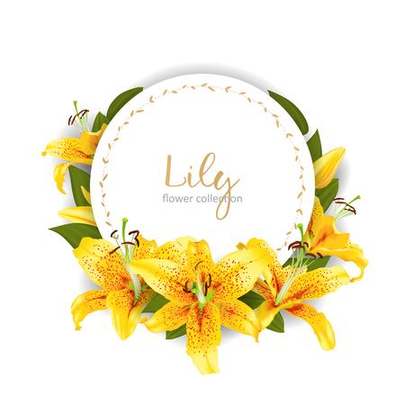 invitation de mariage avec des fleurs de lys modèle illustration vectorielle