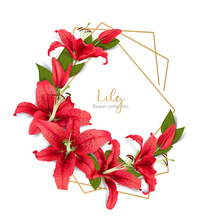 Wedding invitation with red lily flowers