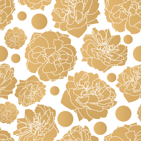 gold Rose seamless pattern Vector