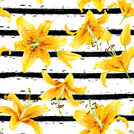 Background with yellow lily flowers Vector illustration.