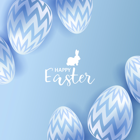 Easter eggs on blue background Illustration