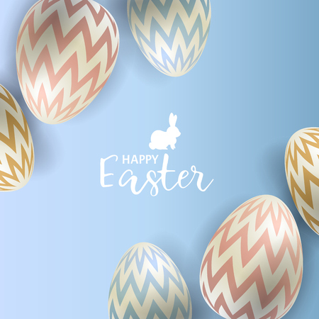 Easter eggs on blue background Vector illustration. Illustration