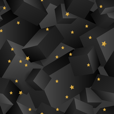 Geometric abstract black pattern with decorative stars