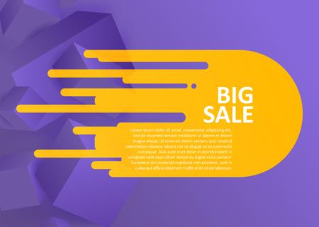 Big sale illustration on purple geometric background Illustration