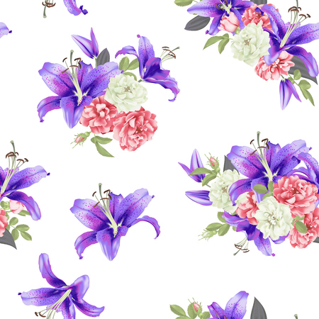 white and pink Rose and violet lily seamless pattern Vector illustration