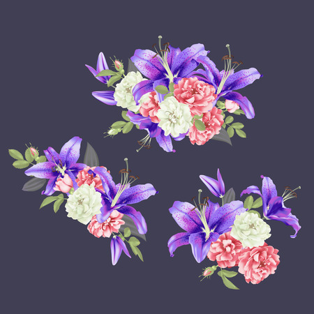 white and pink Rose and violet lily Vector illustration