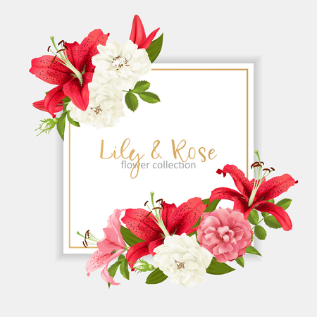 rose and lily wedding invitation. vector card illustration.