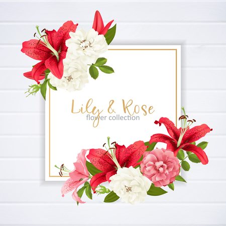 Invitation template with flowers design.
