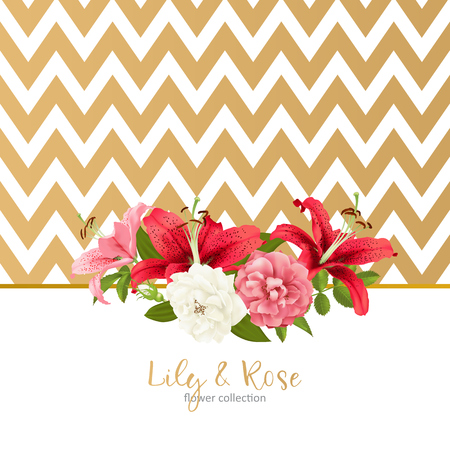 Invitation template with flowers and zigzag lines design.
