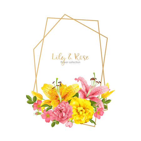 Invitation template with flowers and polygon lines frame.