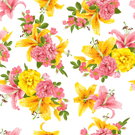 pink Rose and lily seamless pattern. Vector illustration print