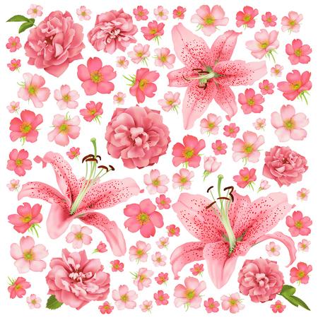 Rose and lily wedding invitation card design pattern.  イラスト・ベクター素材