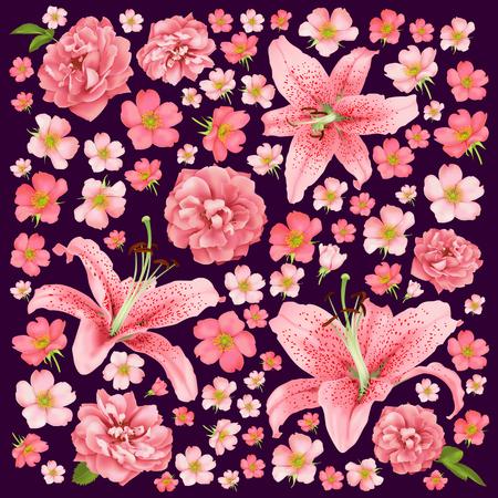 Rose and lily wedding invitation. Vector card illustration.  イラスト・ベクター素材