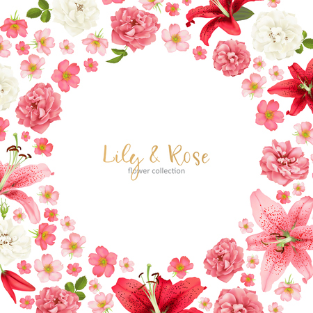 Rose and lily wedding invitation vector card.