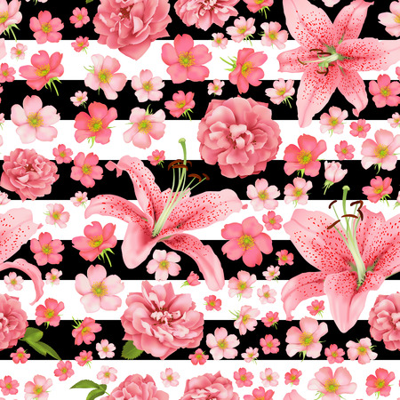 Rose and lily seamless pattern vector card.