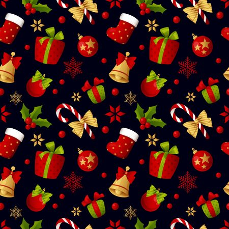 Merry Christmas seamless pattern decoration for holiday vector. Banque d'images - 137351480