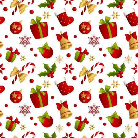 Merry Christmas seamless pattern decoration for holiday vector. Illustration