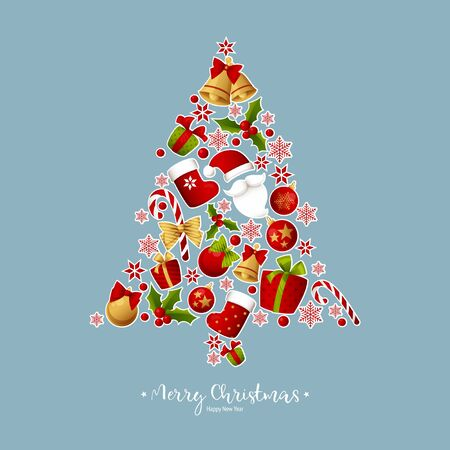 Merry Christmas decoration for holiday vector illustration. Banque d'images - 137351491