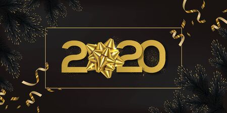 Gold and black 2020 happy new year vector illustration