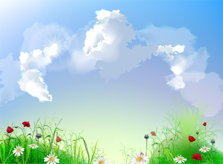 Clouds collection  Feild background Stock Vector - 10318873