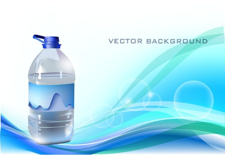 background with bottle of water Stock Vector - 10317885