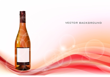 background with bottle of wine  Vector