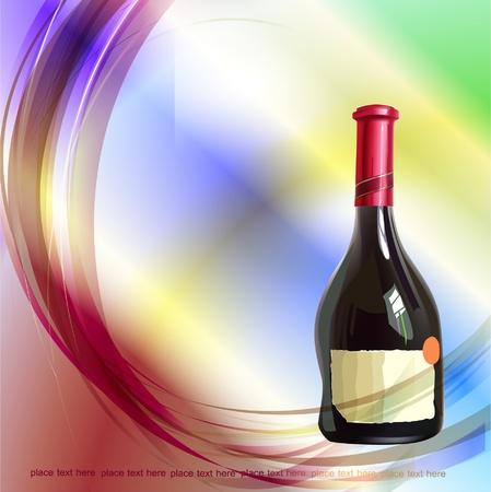 liqueur labels: background with bottle of wine  Illustration
