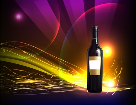 neon background with bottle of wine